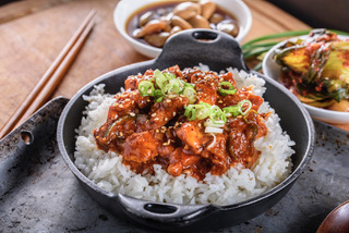 Chopped pork meat with red chili paste gochujang sauce